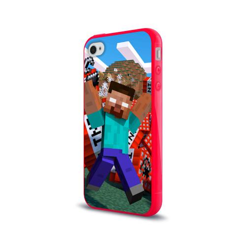 Чехол для Apple iPhone 4/4S силиконовый глянцевый Minecraft Фото 01