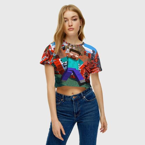 Женская футболка Crop-top 3D Minecraft Фото 01
