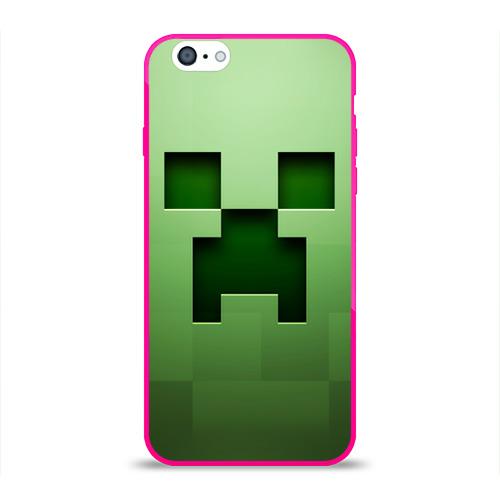 """Чехол силиконовый глянцевый для Apple iPhone 6 """"Minecraft"""" (зеленый) - 1"""