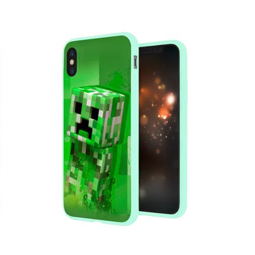 Чехол для Apple iPhone X силиконовый глянцевый Minecraft Фото 01