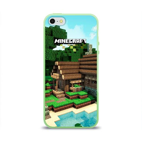 """Чехол силиконовый глянцевый для Apple iPhone 5S """"Minecraft"""" (3) - 1"""