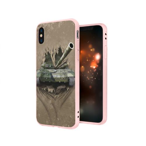 Чехол для Apple iPhone X силиконовый матовый Танк Фото 01