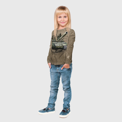 Детский лонгслив 3D Танк Фото 01