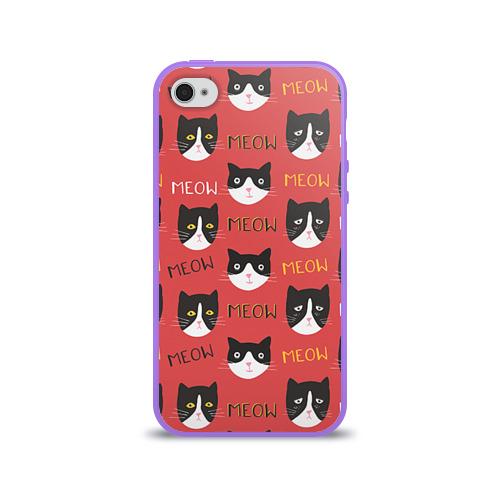 Чехол для Apple iPhone 4/4S силиконовый глянцевый  Фото 01, Meow