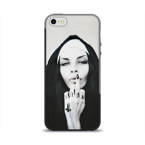 """Чехол силиконовый глянцевый для Apple iPhone 5S """"Монашка"""" - 1"""
