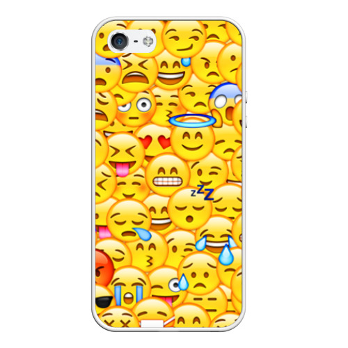 Чехол для Apple iPhone 5/5S силиконовый Emoji от Всемайки