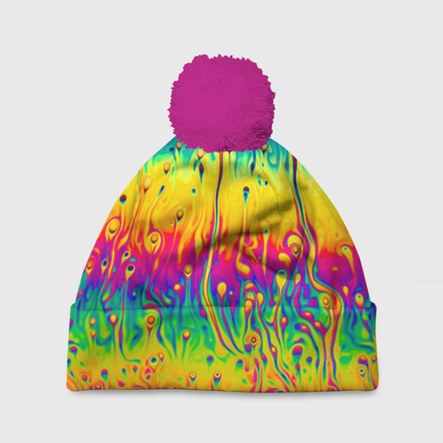 Шапка 3D c помпоном Tie dye
