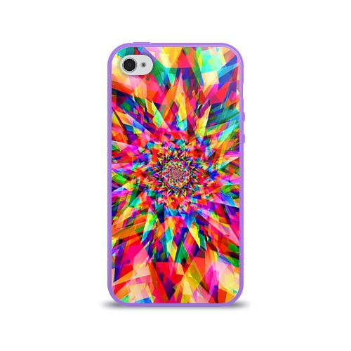 Чехол для Apple iPhone 4/4S силиконовый глянцевый  Фото 01, Tie dye