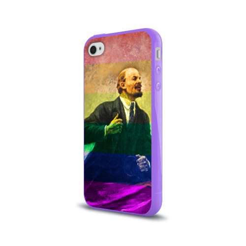 Чехол для Apple iPhone 4/4S силиконовый глянцевый  Фото 03, Радужный Ленин