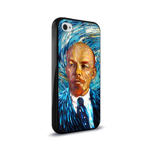 Чехол для Apple iPhone 4/4S силиконовый глянцевый  Фото 02, Ленин по мотивам Ван Гога