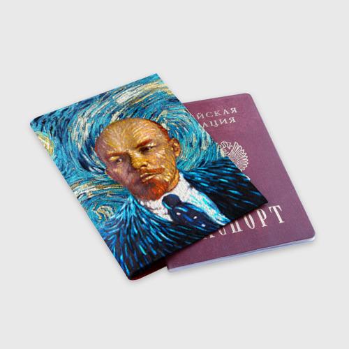 Обложка для паспорта матовая кожа 'Ленин по мотивам Ван Гога'