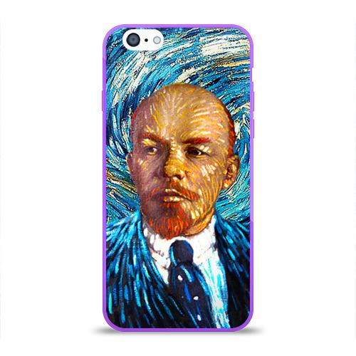 Чехол для Apple iPhone 6 силиконовый глянцевый Ленин по мотивам Ван Гога Фото 01
