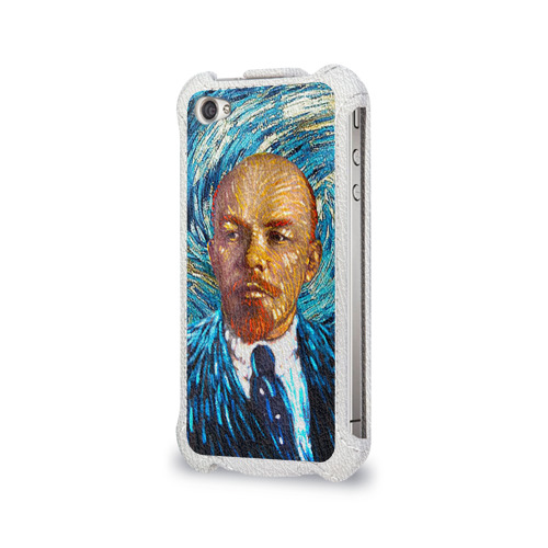 Чехол для Apple iPhone 4/4S flip  Фото 03, Ленин по мотивам Ван Гога