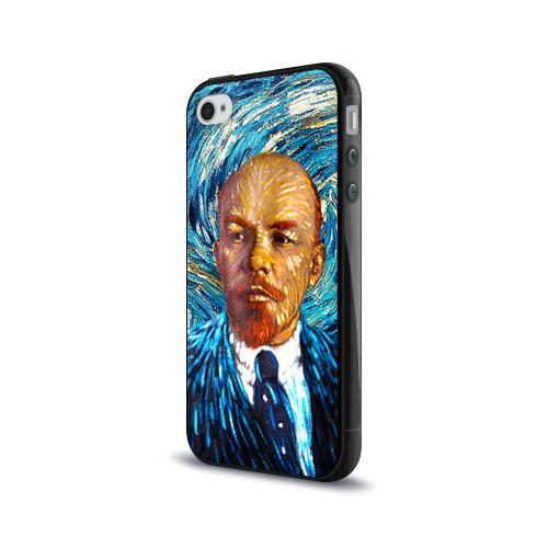 Чехол для Apple iPhone 4/4S силиконовый глянцевый  Фото 03, Ленин по мотивам Ван Гога