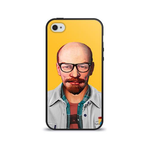Чехол для Apple iPhone 4/4S силиконовый глянцевый Ленин хипстер от Всемайки