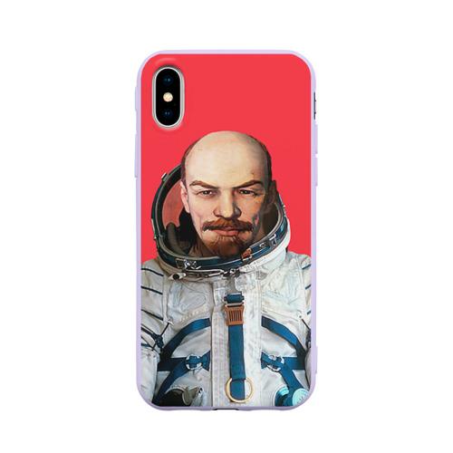 Чехол для iPhone X матовый Ленин космонавт Фото 01