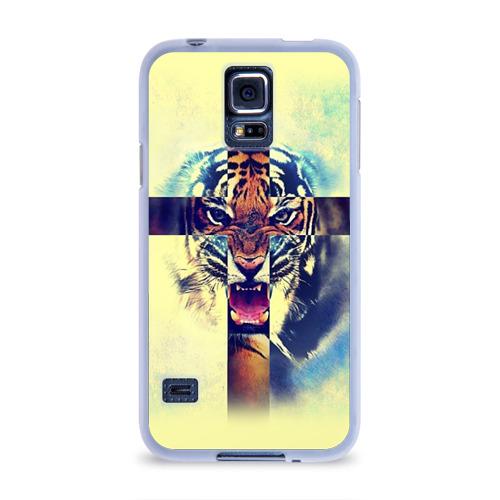 Чехол для Samsung Galaxy S5 силиконовый  Фото 01, Хипстер Тигр