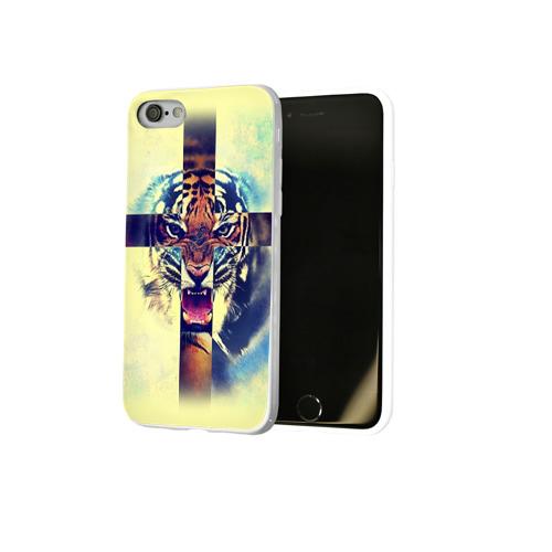 Чехол для Apple iPhone 8 силиконовый глянцевый  Фото 02, Хипстер Тигр