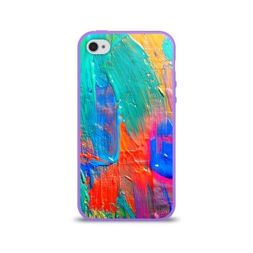 Чехол для Apple iPhone 4/4S силиконовый глянцевый  Фото 01, Абстракция красок