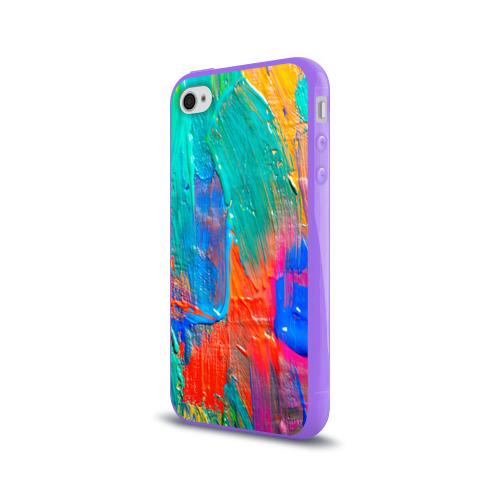 Чехол для Apple iPhone 4/4S силиконовый глянцевый  Фото 03, Абстракция красок