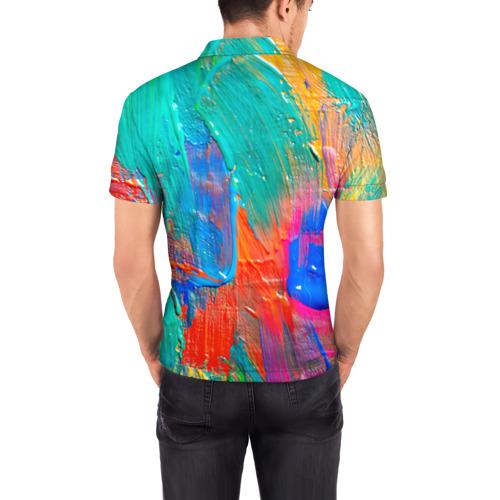 Мужская рубашка поло 3D  Фото 04, Абстракция красок