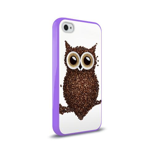 Чехол для Apple iPhone 4/4S силиконовый глянцевый Сова из кофе Фото 01