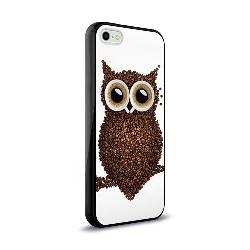 Чехол для Apple iPhone 5/5S силиконовый глянцевый Сова из кофе Фото 01