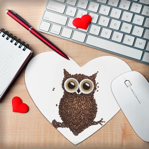 Коврик для мыши сердце Сова из кофе