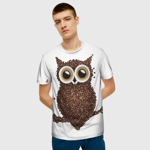 Мужская футболка 3D Сова из кофе Фото 01