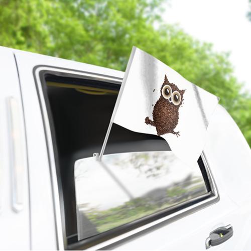 Флаг для автомобиля Сова из кофе Фото 01