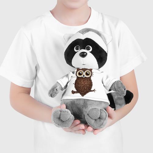 Енотик в футболке 3D Сова из кофе Фото 01