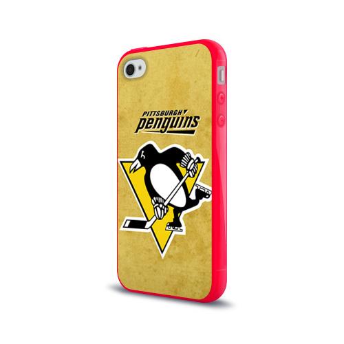 Чехол для Apple iPhone 4/4S силиконовый глянцевый  Фото 03, Pittsburgh Pinguins