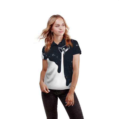 Женская рубашка поло 3D Черно-белый Фото 01