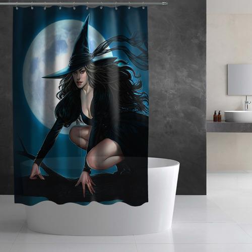 Штора 3D для ванной  Фото 02, Ведьма