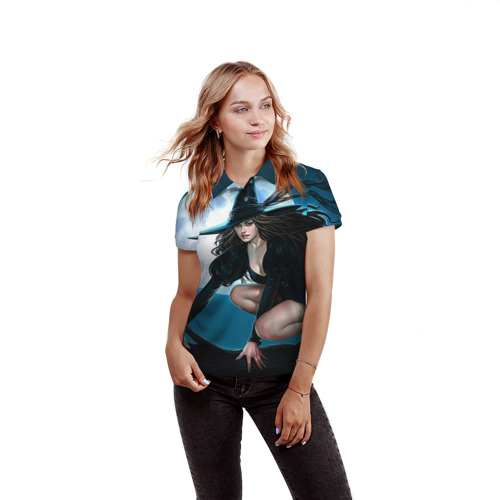 Женская рубашка поло 3D  Фото 03, Ведьма