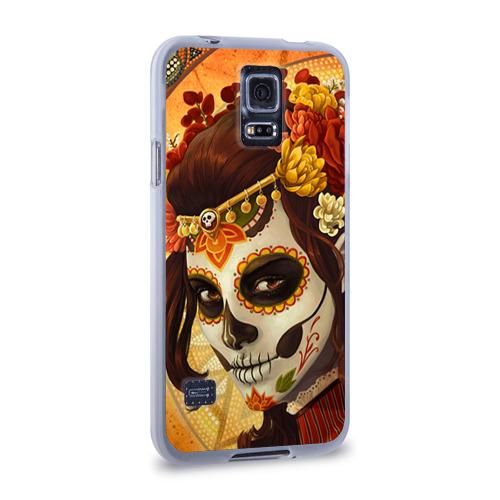 Чехол для Samsung Galaxy S5 силиконовый  Фото 02, Девушка. Сахарный череп
