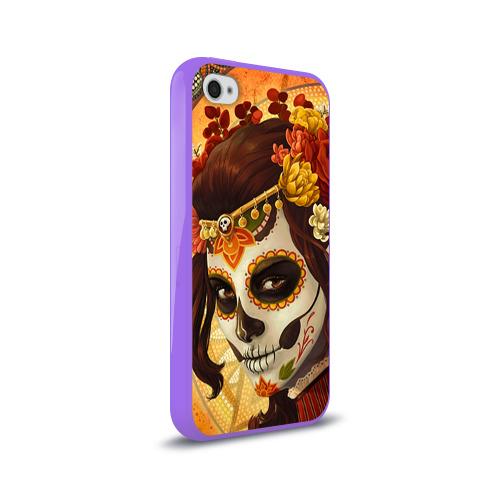 Чехол для Apple iPhone 4/4S силиконовый глянцевый  Фото 02, Девушка. Сахарный череп