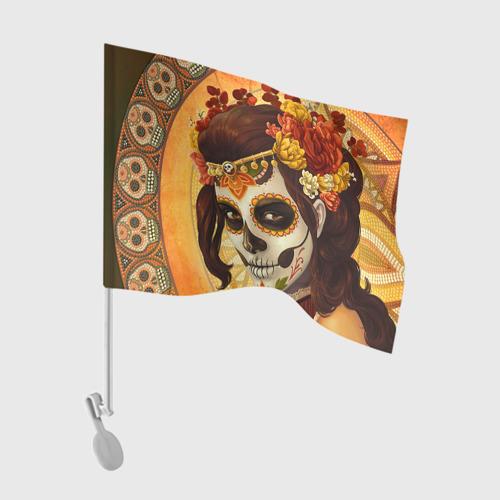 Флаг для автомобиля Девушка. Сахарный череп