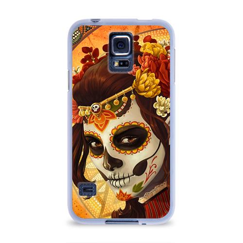 Чехол для Samsung Galaxy S5 силиконовый Девушка. Сахарный череп