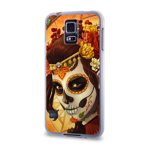 Чехол для Samsung Galaxy S5 силиконовый  Фото 03, Девушка. Сахарный череп