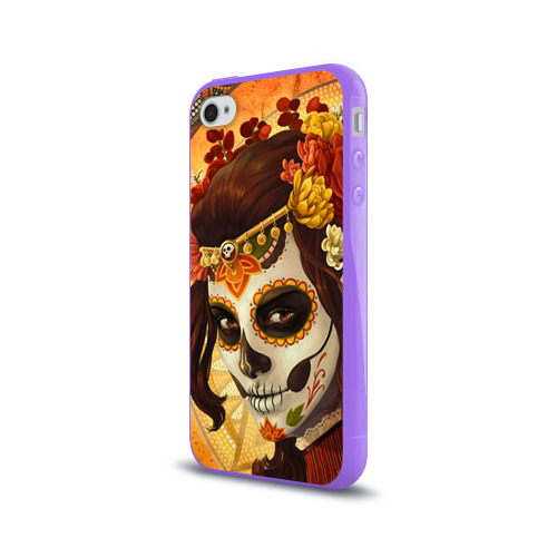 Чехол для Apple iPhone 4/4S силиконовый глянцевый  Фото 03, Девушка. Сахарный череп