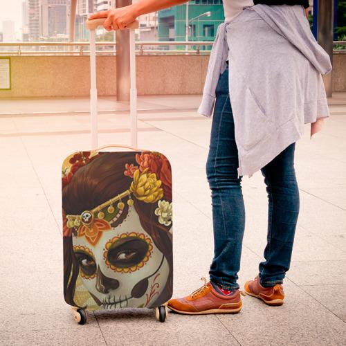 Чехол для чемодана 3D  Фото 04, Девушка. Сахарный череп