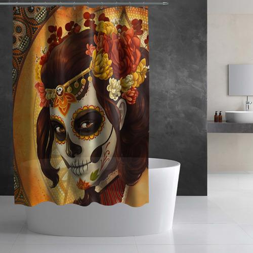 Штора 3D для ванной  Фото 03, Девушка. Сахарный череп