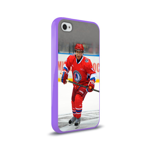 Чехол для Apple iPhone 4/4S силиконовый глянцевый  Фото 02, Путин хоккеист