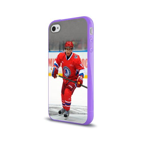 Чехол для Apple iPhone 4/4S силиконовый глянцевый  Фото 03, Путин хоккеист