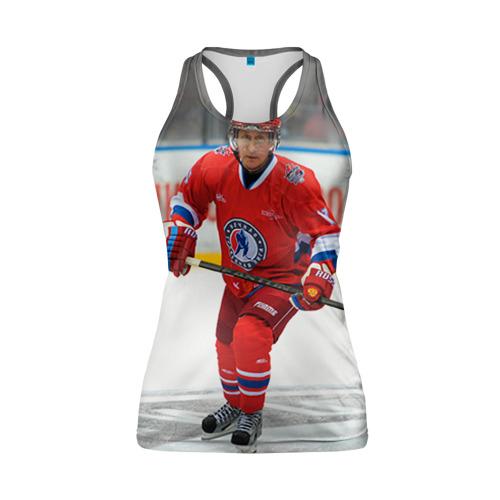 Женская майка 3D спортивная Путин хоккеист