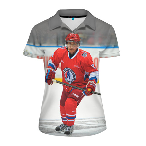Женская рубашка поло 3D Путин хоккеист