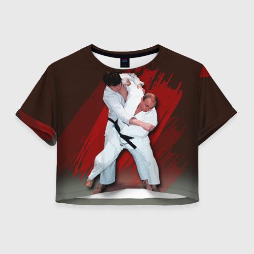 Женская футболка Crop-top 3D Дзюдо