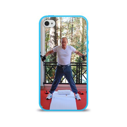 Чехол для Apple iPhone 4/4S силиконовый глянцевый  Фото 01, Спортивный Путин