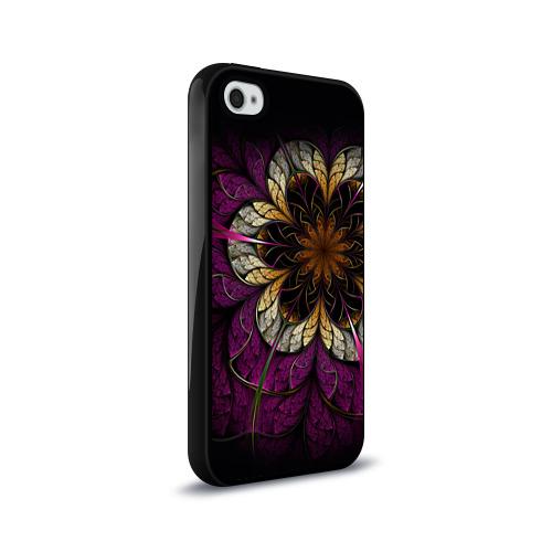 Чехол для Apple iPhone 4/4S силиконовый глянцевый  Фото 02, Цветочная абстракция